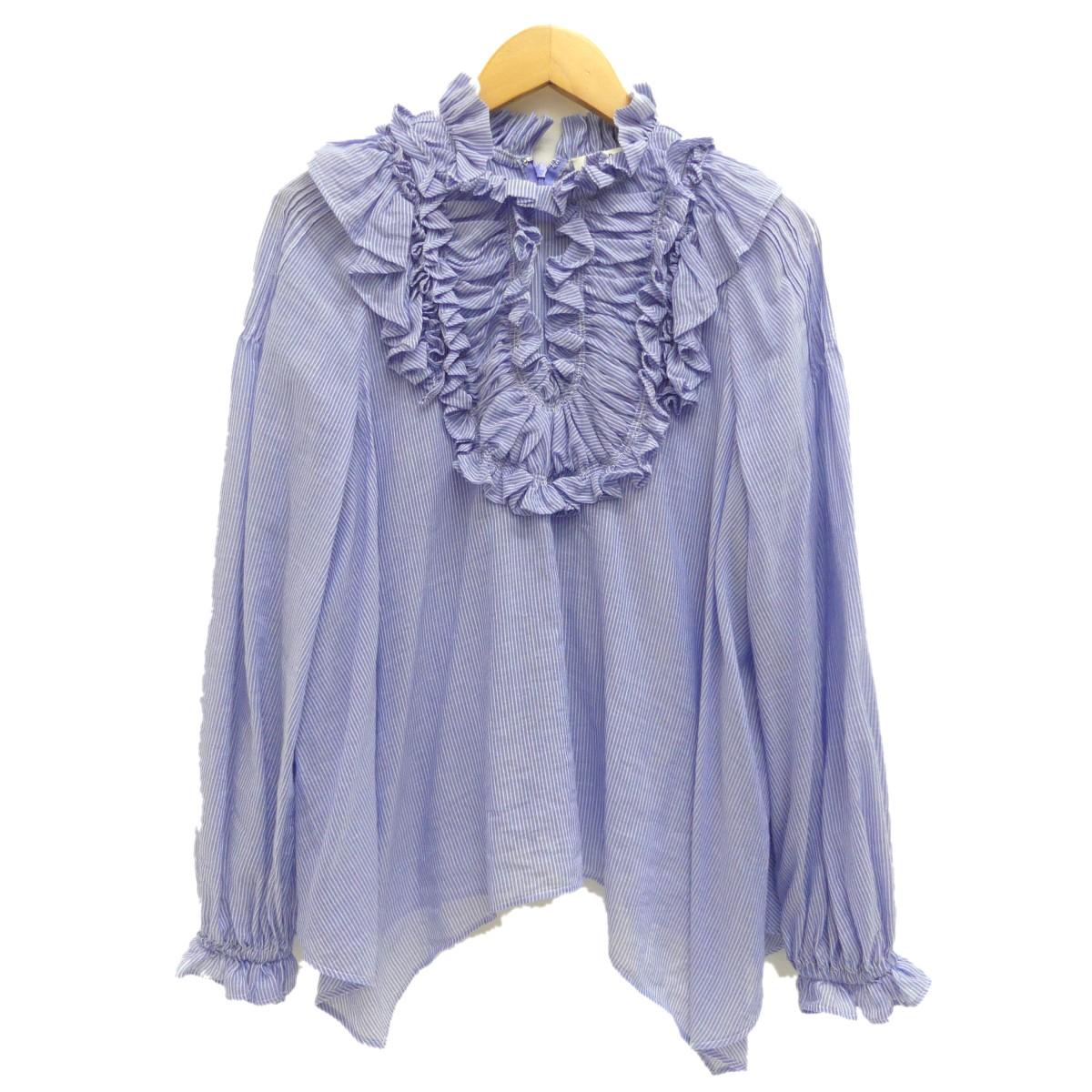 【中古】ENFOLD 2019SS ストライプフリルシャツ ブルー サイズ:38 【250420】(エンフォルド)