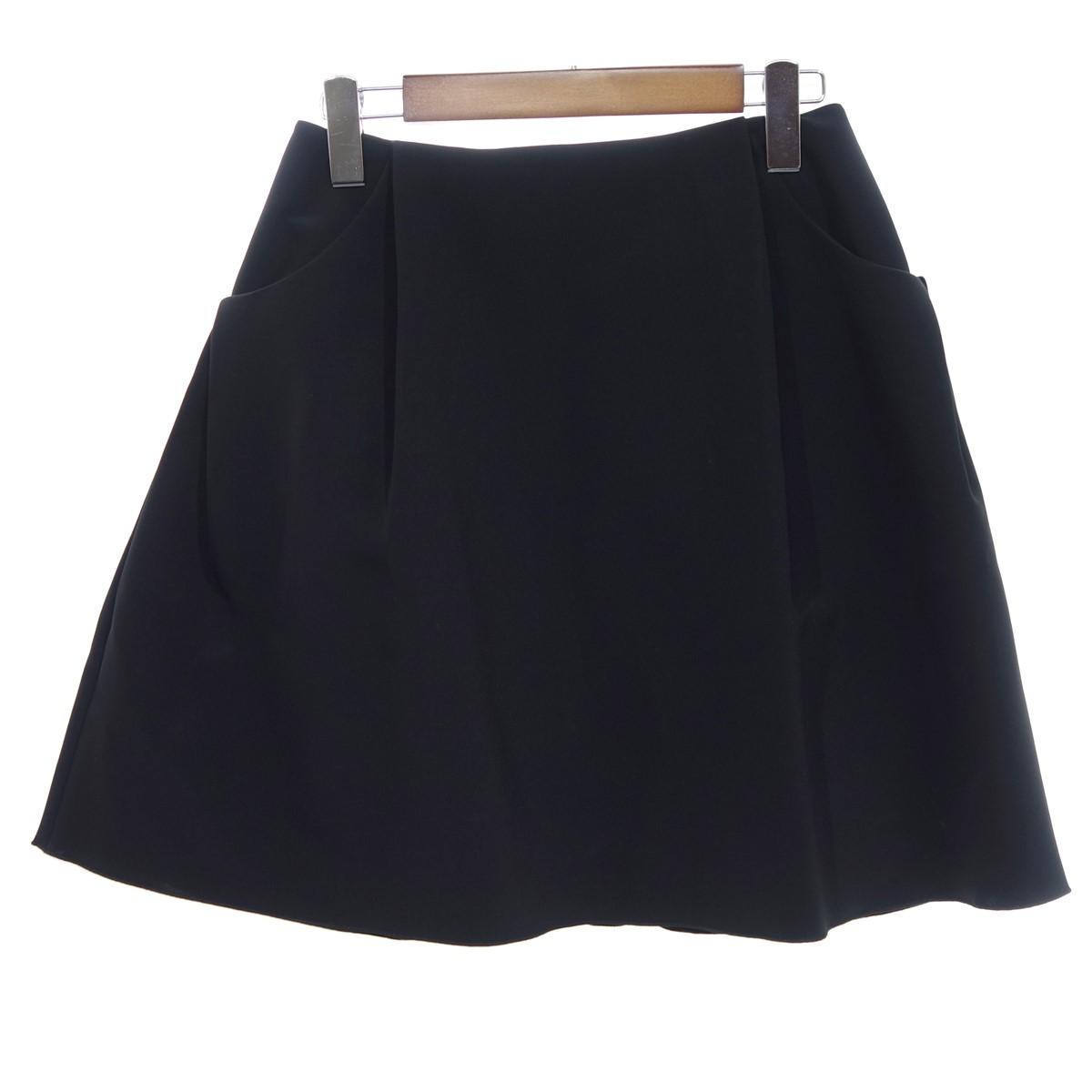 【中古】FOXEY NEW YORK 32461 イリプスフレア スカート ブラック サイズ:38 【250420】(フォクシーニューヨーク)