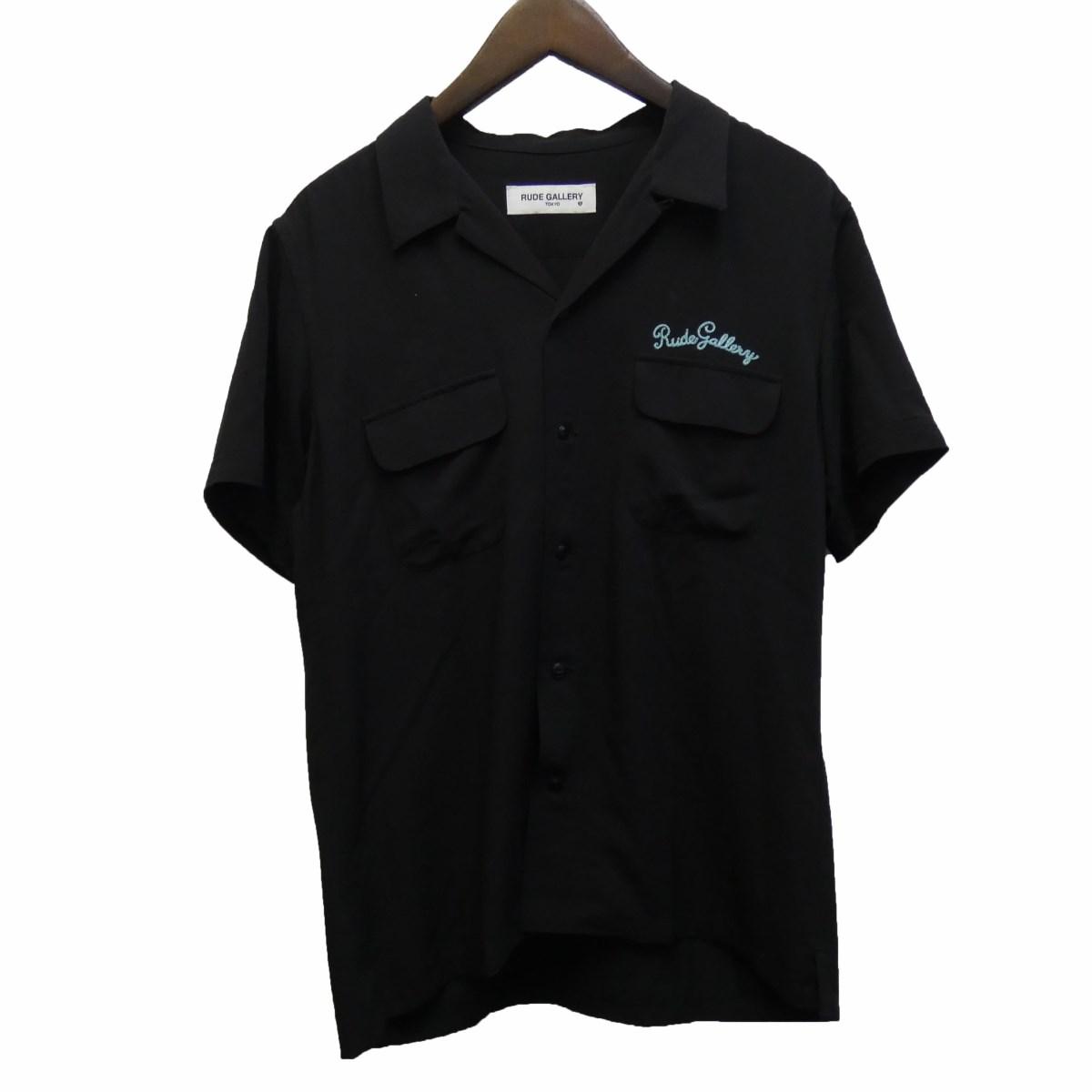 【中古】RUDE GALLERY 18SS「WFLAP OPEN COLLAR SHIRT」オープンカラー半袖シャツ ブラック サイズ:3 【250420】(ルードギャラリー)