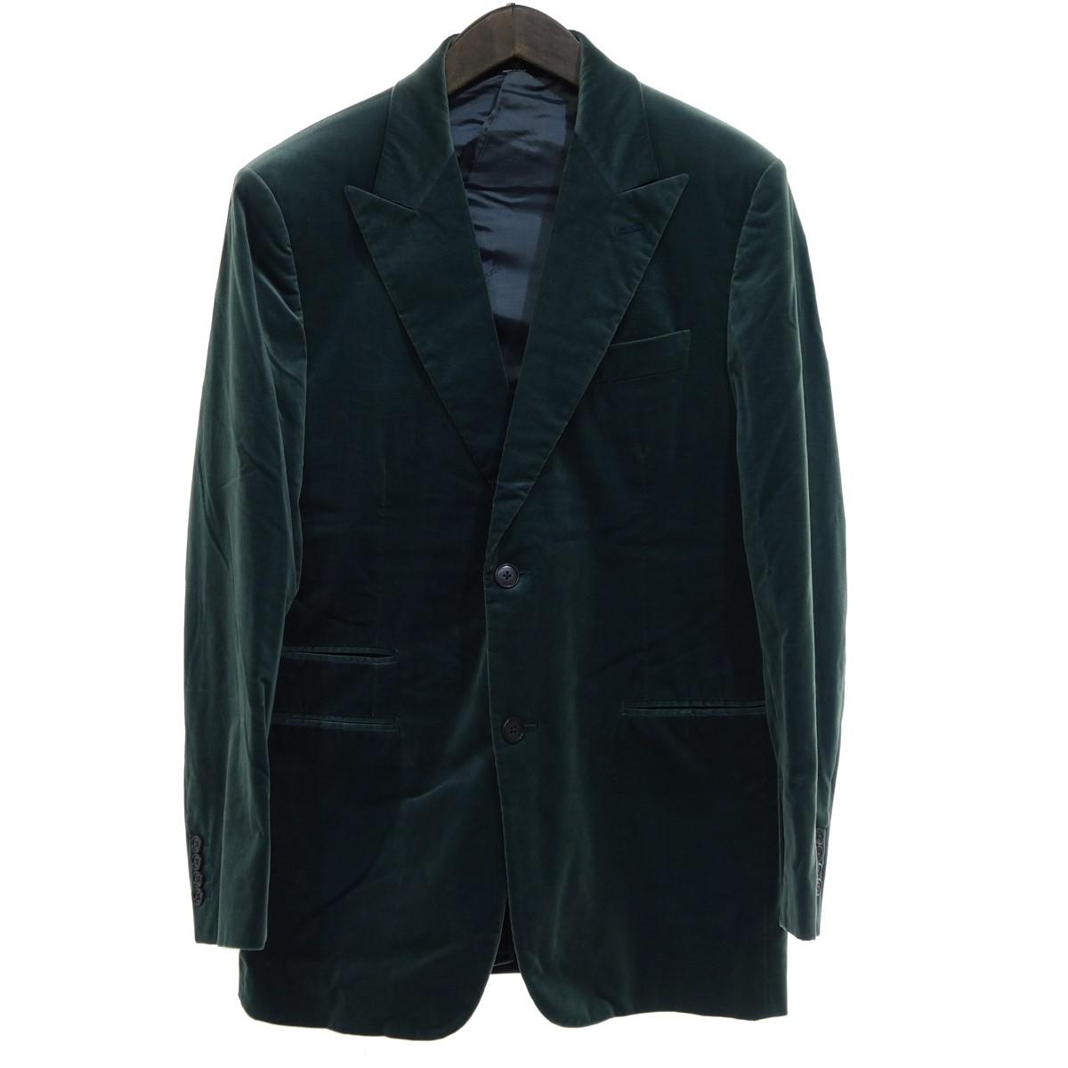 【中古】HERMES 2Bベロアテーラードジャケット グリーン サイズ:48 【260420】(エルメス)