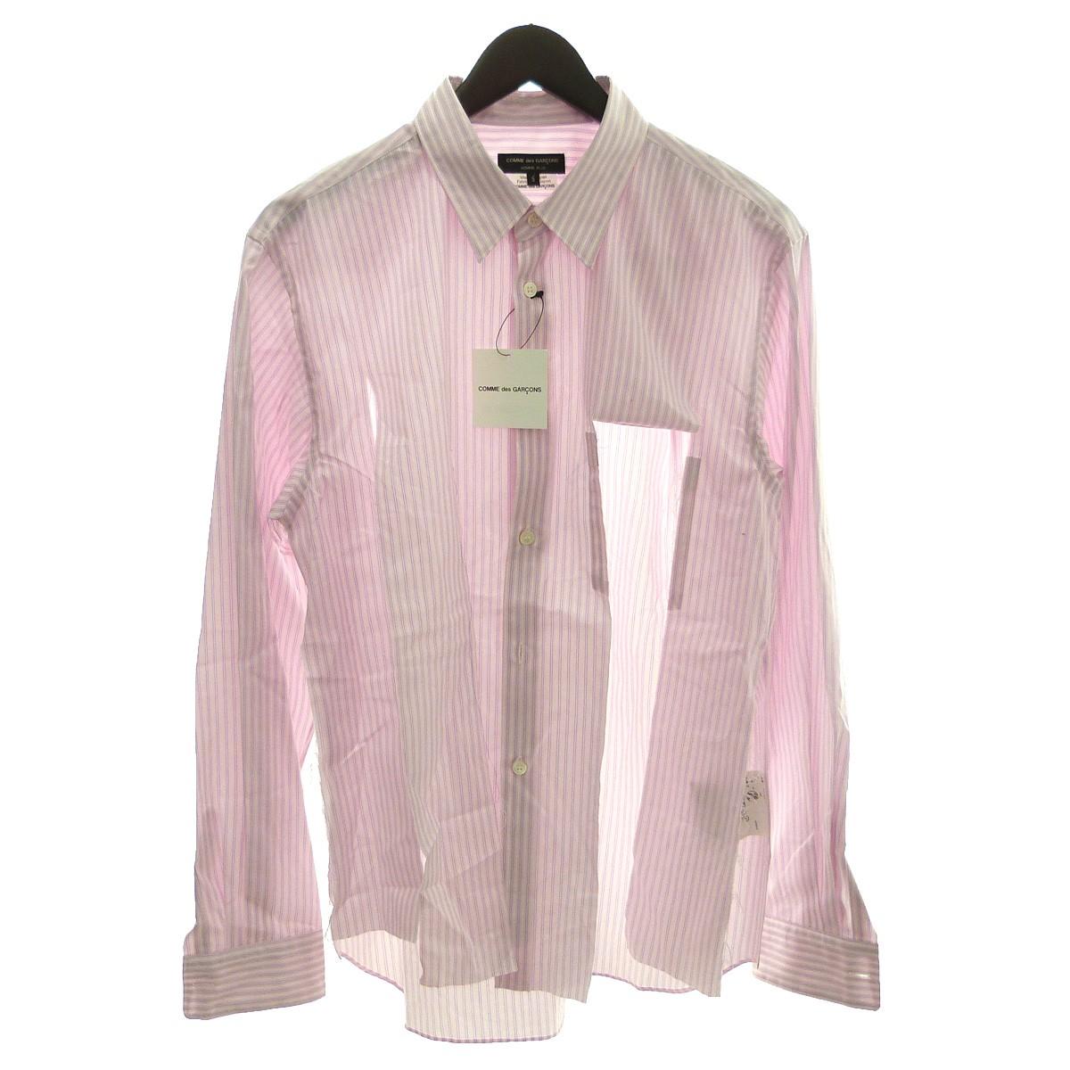 【中古】COMME des GARCONS HOMME PLUS 19SS フロントカットストライプシャツ ピンク サイズ:S 【260420】(コムデギャルソンオムプリュス)