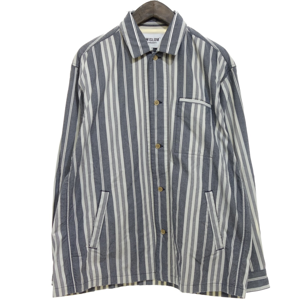 【中古】WISLOM EVAN シャツジャケット グレー×ホワイト サイズ:06 【260420】(ウィズロム)