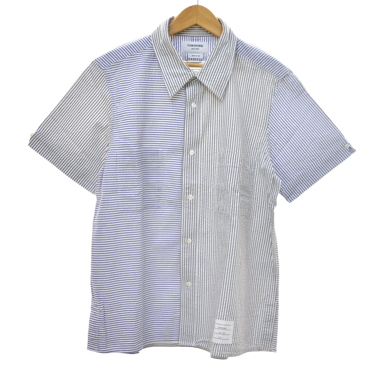 【中古】THOM BROWNE ストライプ半袖シャツ ホワイト×ブルー×グレー サイズ:4 【260420】(トム・ブラウン)