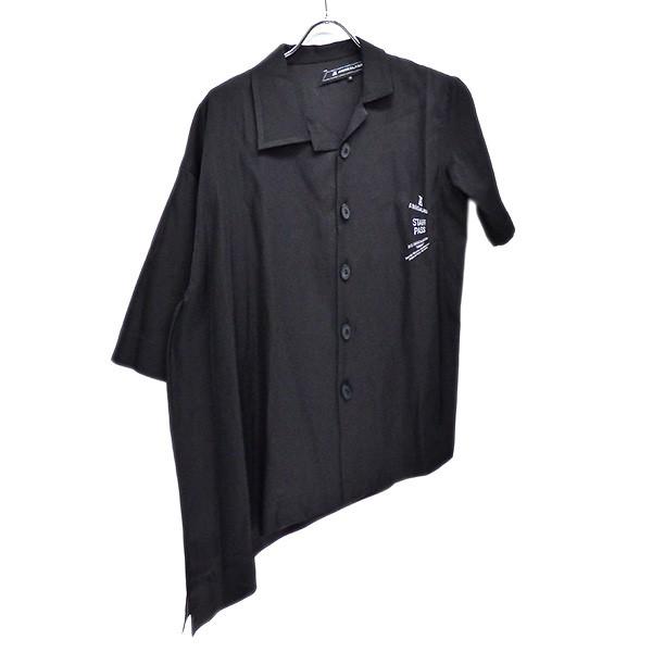 【中古】ANREALAGE 2020SS SIDE ANGLE SHIRT アシンメトリー 半袖シャツ ブラック サイズ:38 【260420】(アンリアレイジ)
