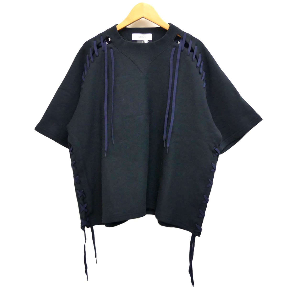 【中古】FACETASM TIED UP SHORT SLEEVE SWEAT SHIRT 半袖スウェット ブラック サイズ:5 【270420】(ファセッタズム)