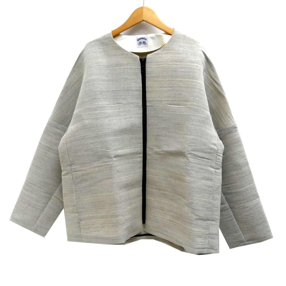 【中古】SUNSEA 14SS Horsehair Blouson ジップアップジャケット ベージュ サイズ:3 【270420】(サンシー)