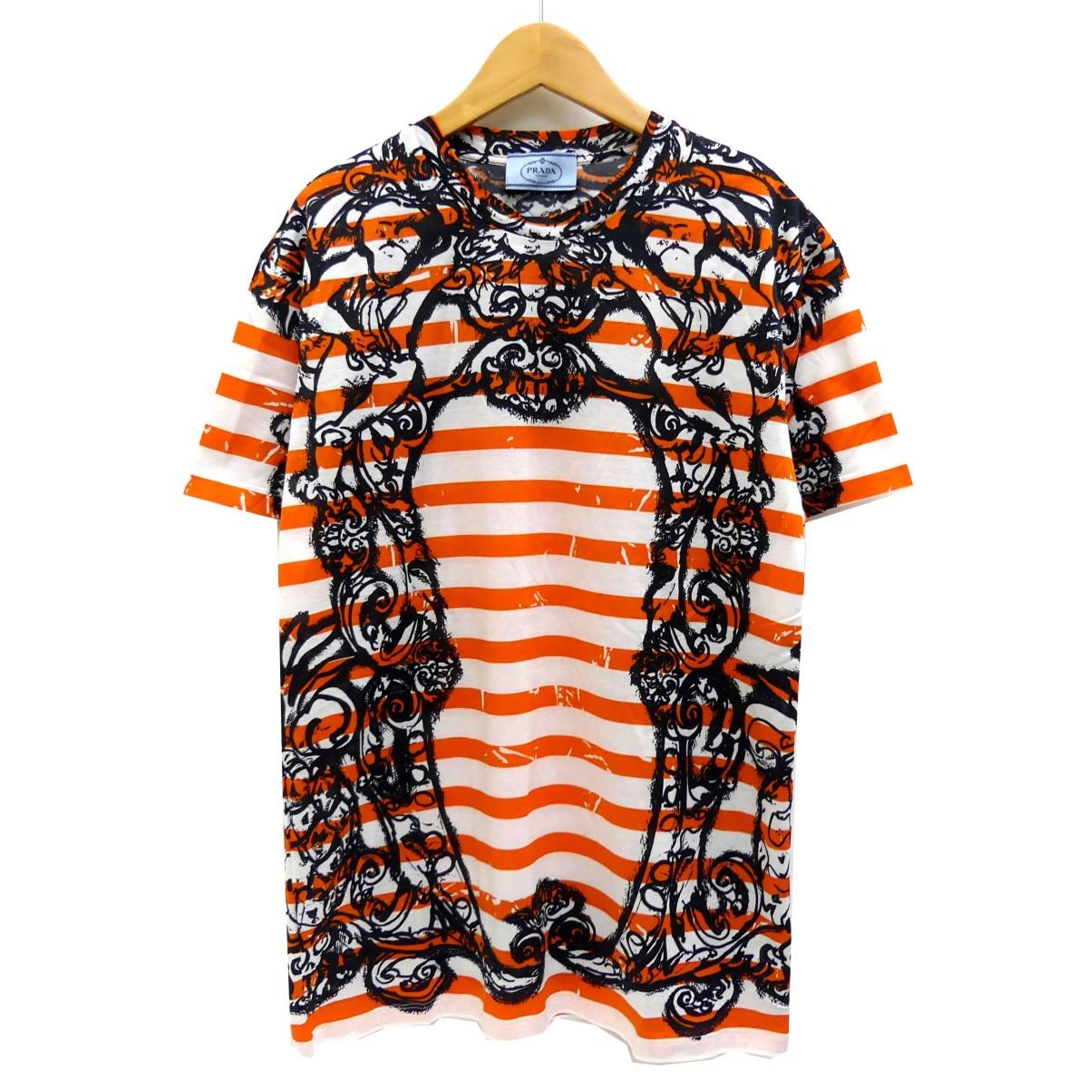 【中古】PRADA 総柄ボーダーTシャツ オレンジ サイズ:S 【270420】(プラダ)
