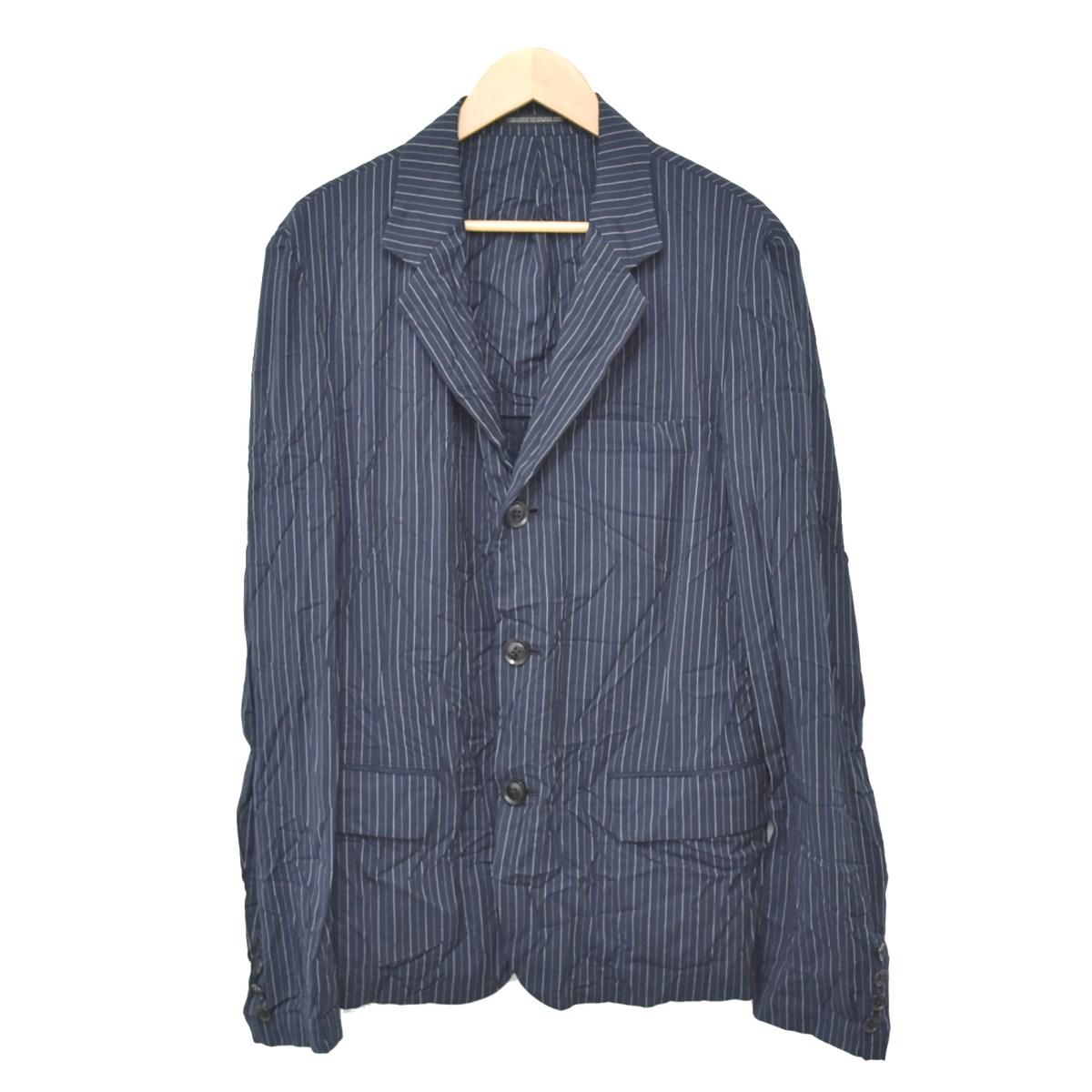 【中古】YOHJI YAMAMOTO pour homme 16SS 3B Notched Lapel Wrinkled Stripe Jacket ジャケット ネイビー サイズ:2 【270420】(ヨウジヤマモトプールオム)