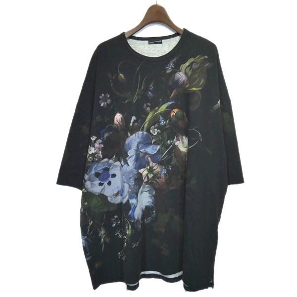 【中古】LAD MUSICIAN 2019AW「SUPER BIG T-SHIRT」フラワープリントビッグTシャツ ブラック サイズ:Free 【270420】(ラッドミュージシャン)