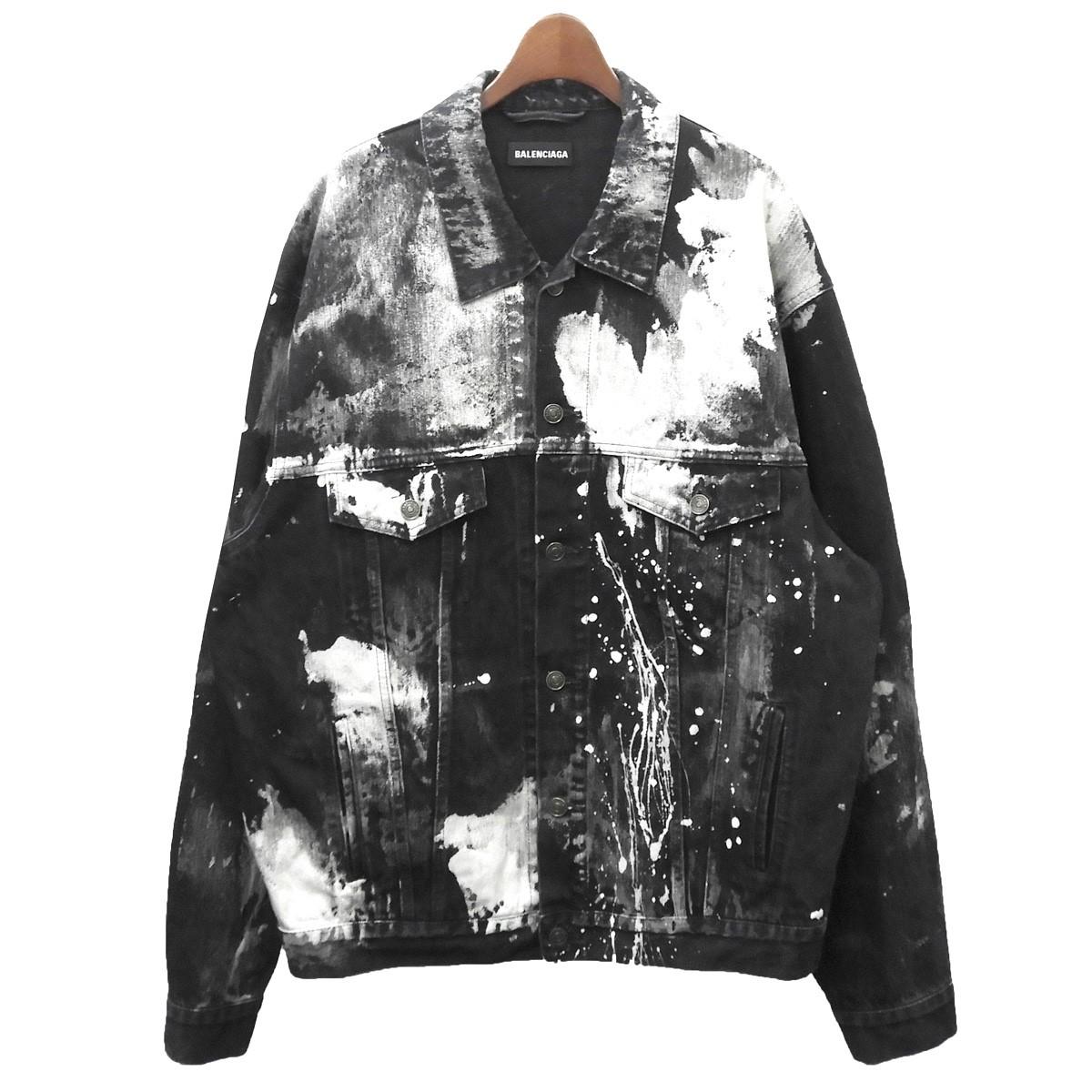 【中古】BALENCIAGA ブリーチペイントステインデニムジャケット ブラック サイズ:46 【280420】(バレンシアガ)