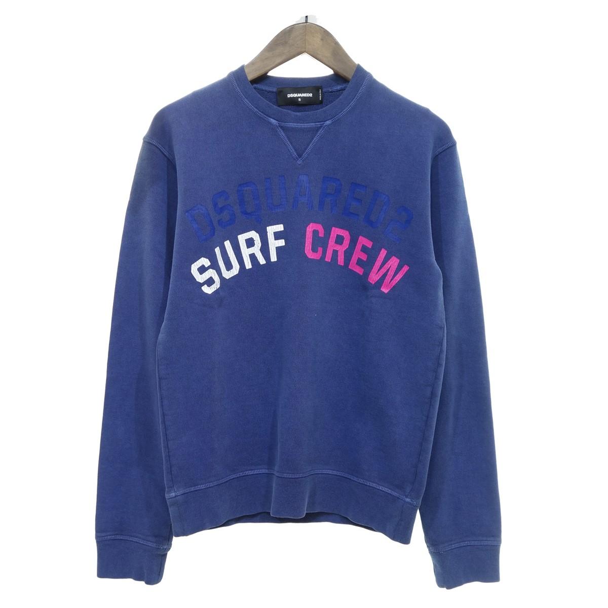 【中古】DSQUARED2 17SS SURF CREW プリントスウェット ネイビー サイズ:S 【270420】(ディースクエアード)