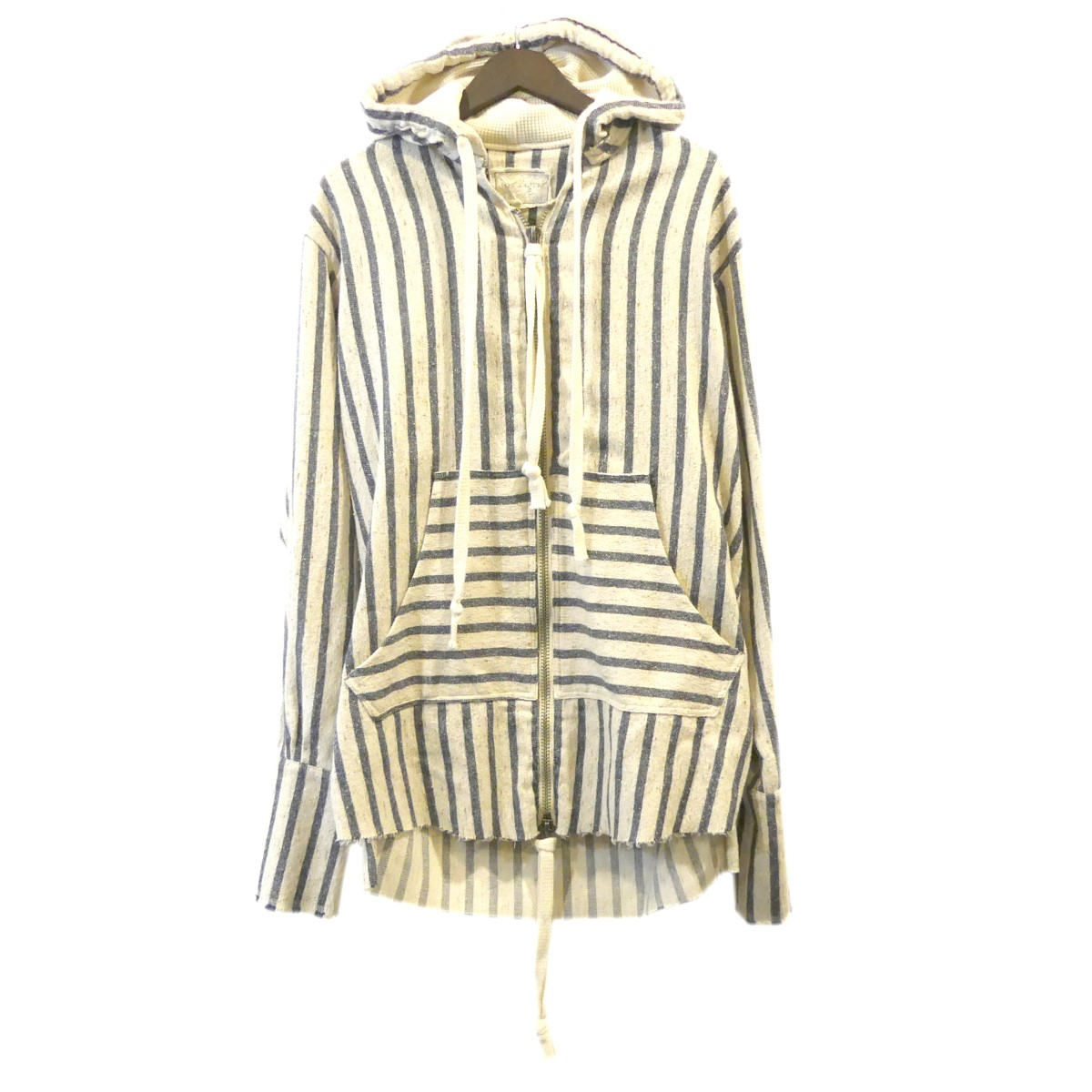 【中古】Greg Lauren Blanket Stripe Zip Front Studio Hoodie スタジオジップパーカー ホワイト×ネイビー サイズ:2 【270420】(グレッグ・ローレン)