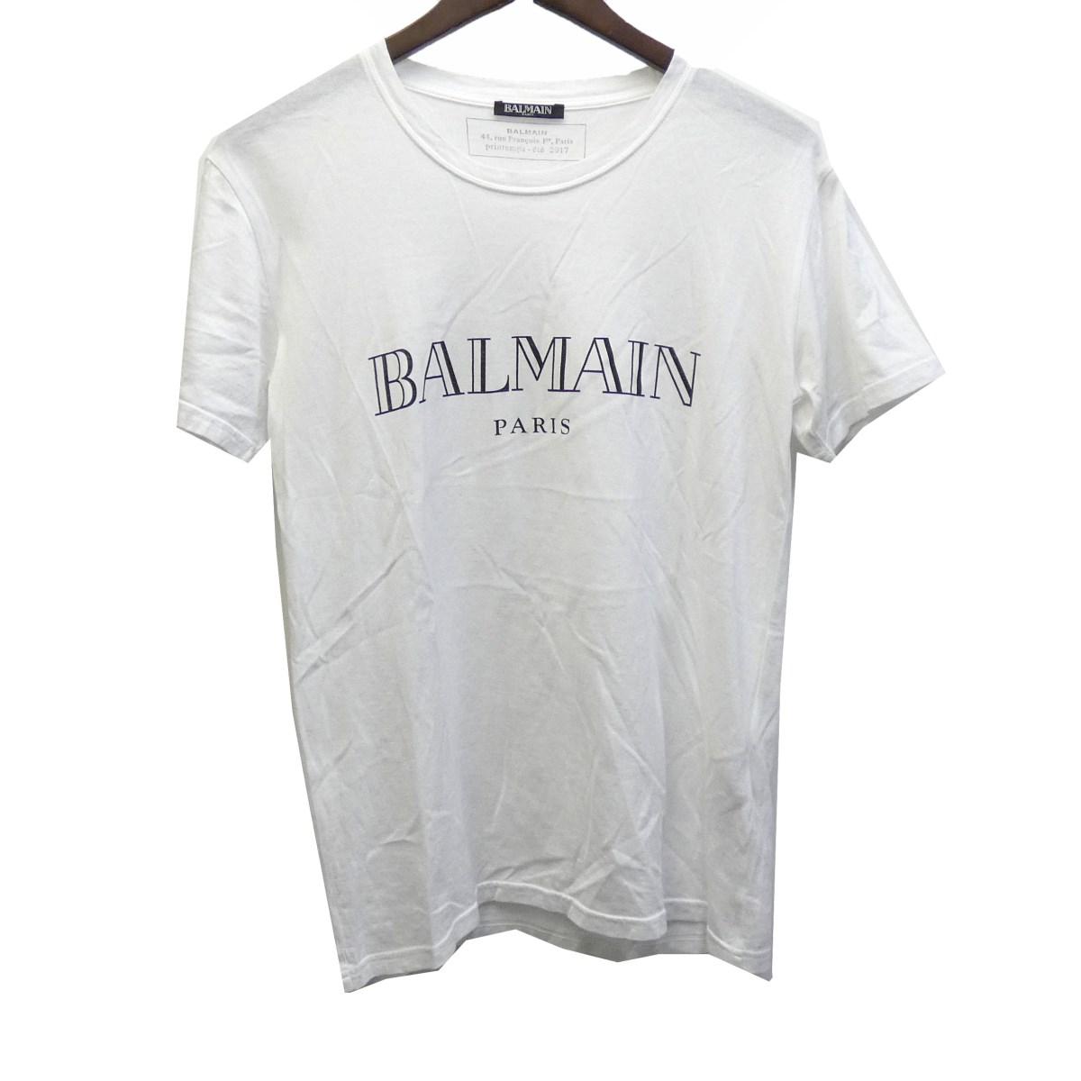 【中古】BALMAIN HOMME ロゴプリントTシャツ ホワイト サイズ:XS 【270420】(バルマン オム)