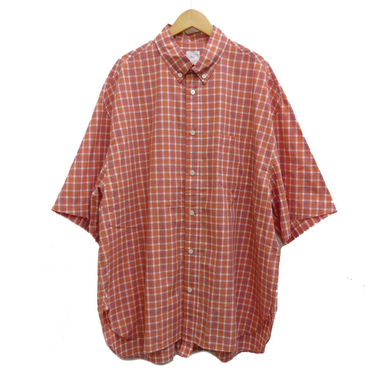 【中古】name. 19SS ボタンダウンチェックシャツ オレンジ サイズ:3 【280420】(ネーム)