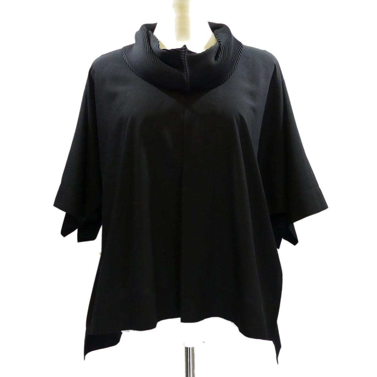 【中古】ISSEY MIYAKE プリーツカラー 半袖プルオーバーシャツ Pleats Collar Shirt ブラック サイズ:2 【280420】(イッセイミヤケ)