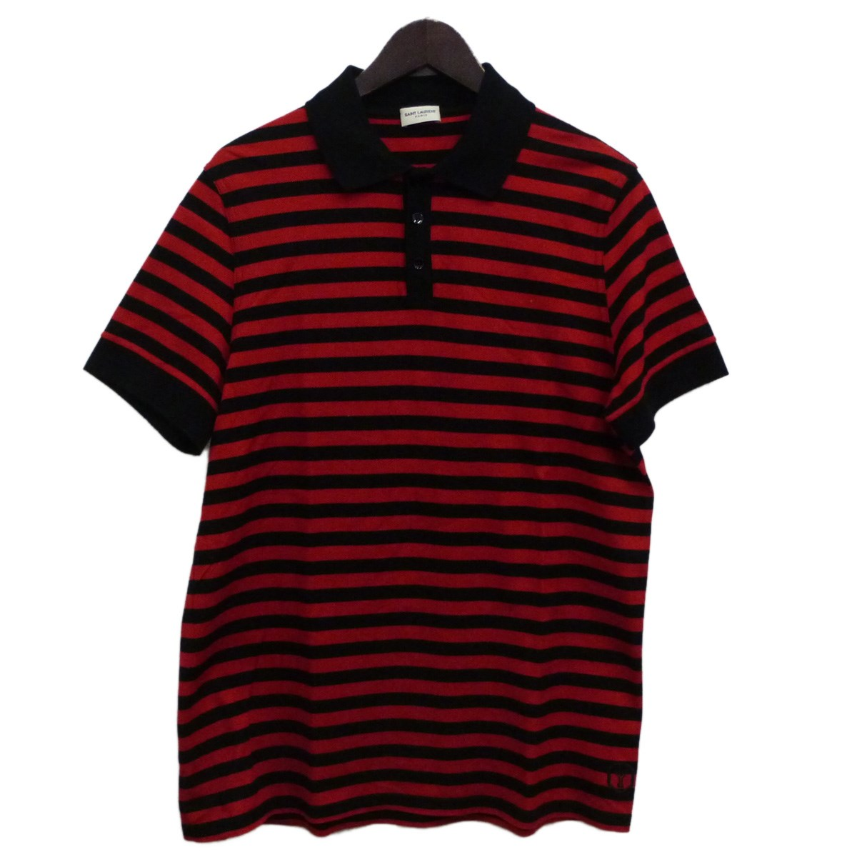 【中古】SAINT LAURENT PARIS 17AWボーダー半袖ポロシャツ レッド×ブラック サイズ:L 【280420】(サンローランパリ)