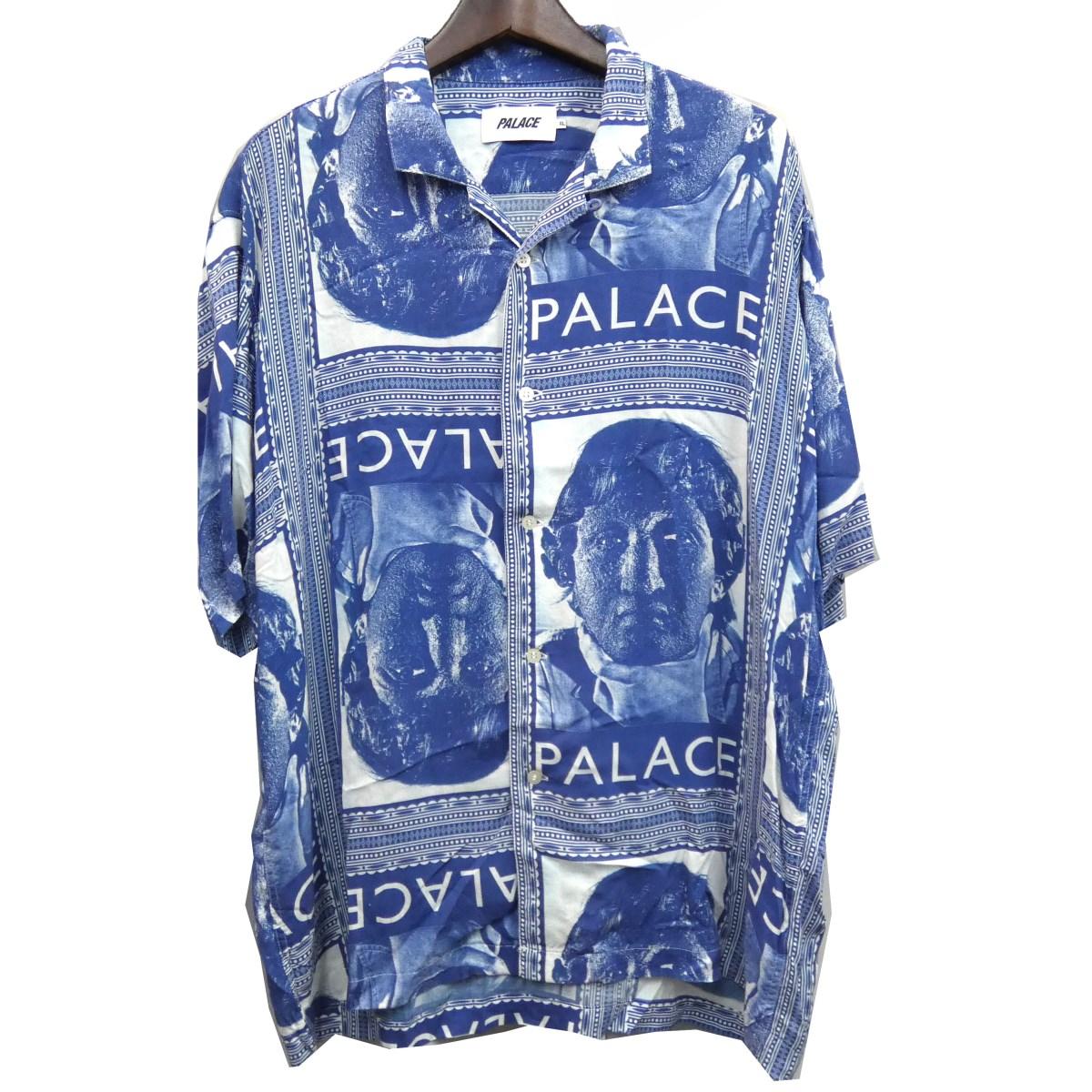 【中古】PALACE 19SS 「NICKED SHIRT」 レーヨン半袖シャツ ブルー サイズ:XL 【280420】(パレス)