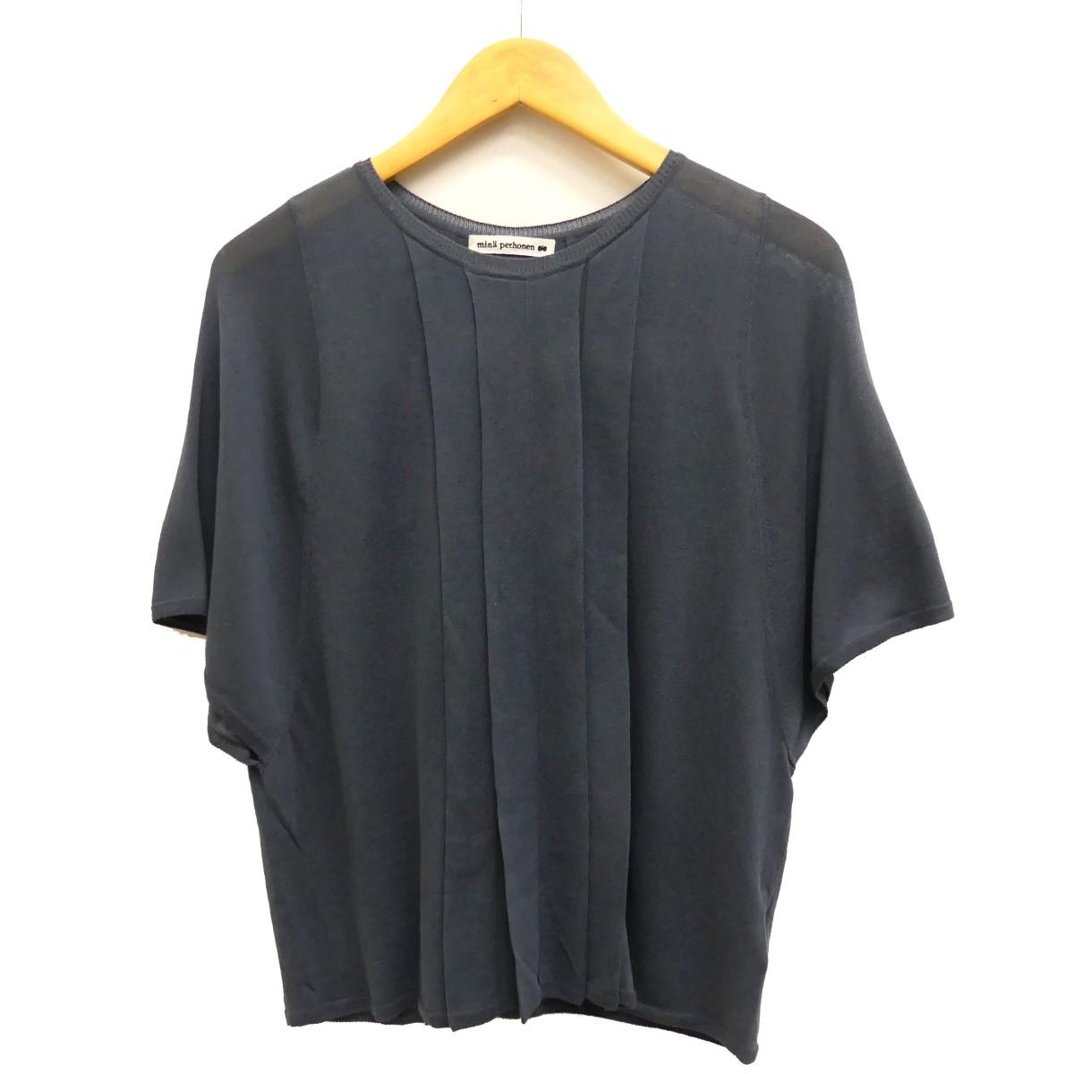 【中古】mina perhonen 18SS petalo 半袖カットソー ブルー サイズ:36 【290420】(ミナペルホネン)