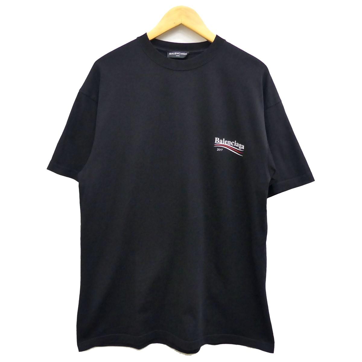 【中古】BALENCIAGA キャンペーンロゴTシャツ ブラック サイズ:XS 【290420】(バレンシアガ)