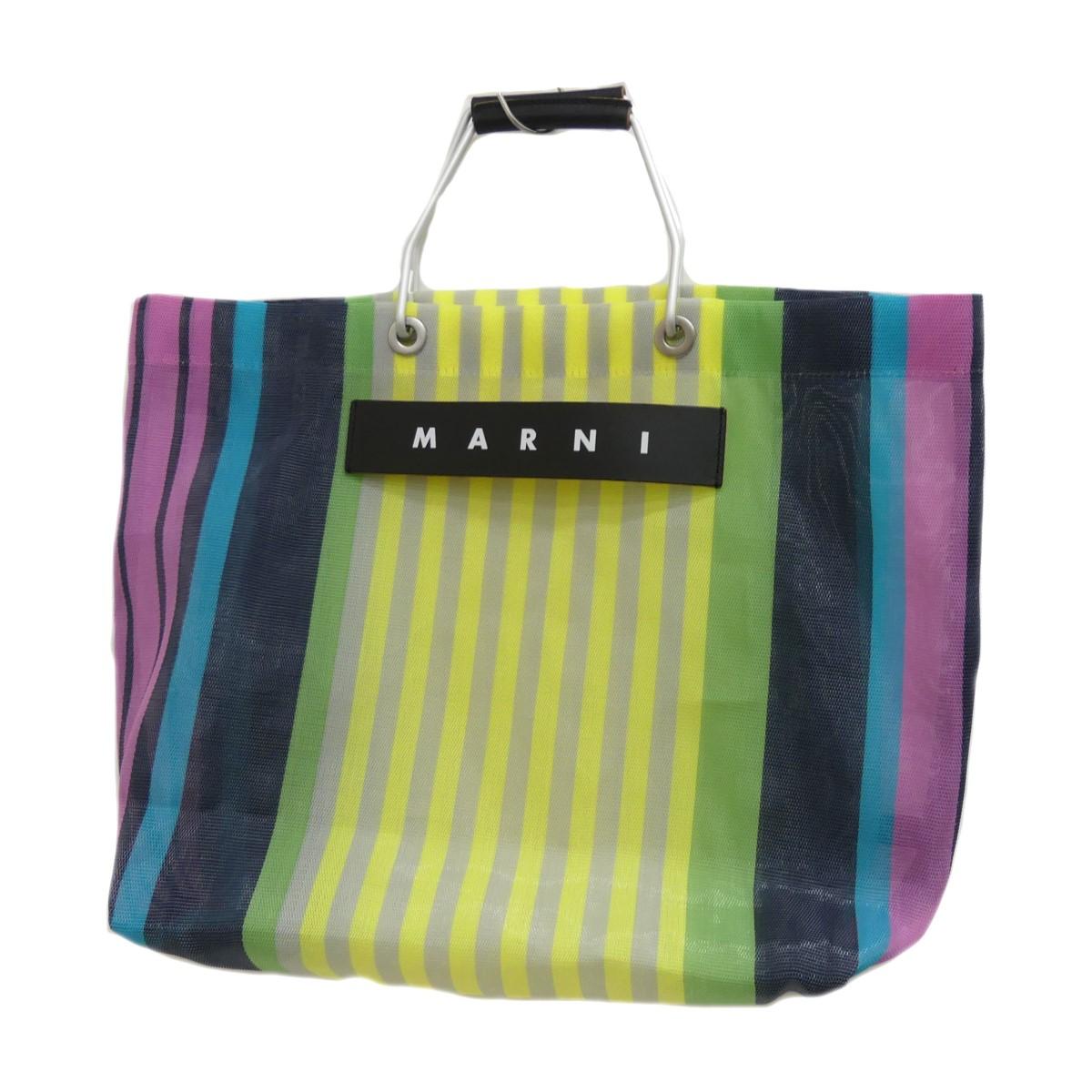 【中古】MARNI フラワーカフェ ストライプトートバッグ マルチカラー サイズ:- 【300420】(マルニ)