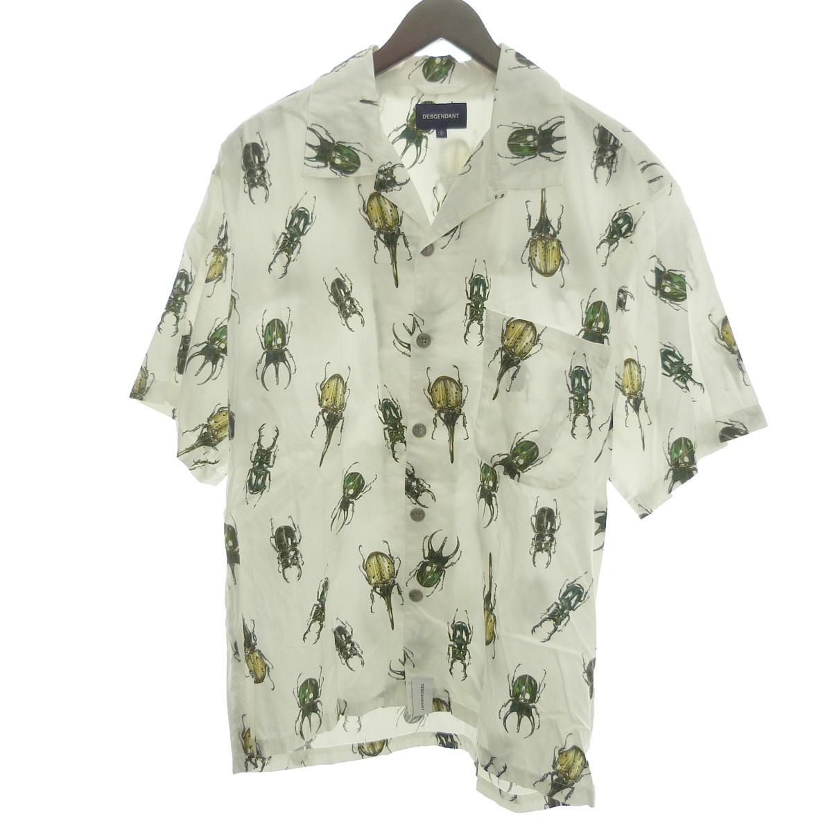【中古】DESCENDANT 「CAUCASUS TEXTILE SS SHIRT」オープンカラーシャツ ホワイト サイズ:2 【300420】(ディセンダント)