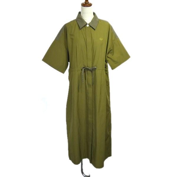【中古】FRED PERRY 2019SS「SHIRT DRESS」ギャザーワンピース カーキ サイズ:10 【010520】(フレッドペリー)