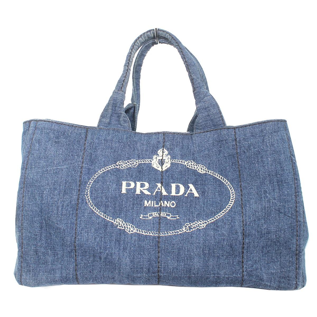 【中古】PRADA カナパデニムトートバッグ CANAPA インディゴ 【010520】(プラダ)
