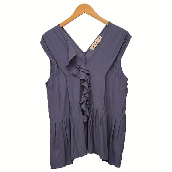 【中古】MARNI ノースリーブ フリルシャツ ブラウス ベスト パープル サイズ:40 【010520】(マルニ)