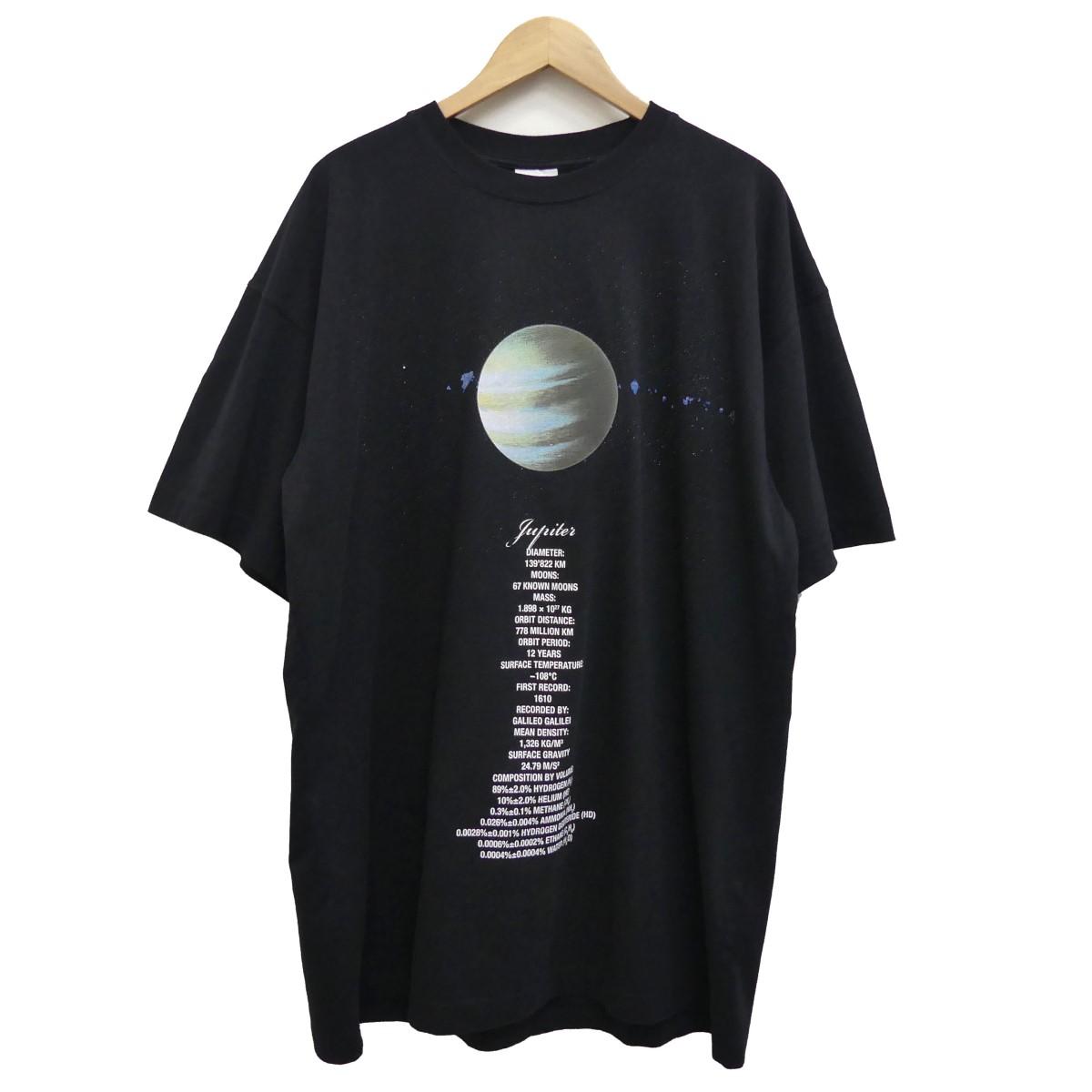 【中古】VETEMENTS 19SS PLANET NUMBER T-SHIRT プリントTシャツ ブラック サイズ:S 【020520】(ヴェトモン)