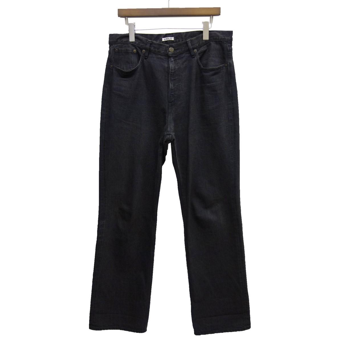 【中古】AURALEE19SS「WASH HARD TWIST DNIM 5P PANTS」ハードツイストデニムパンツ ブラック サイズ:36 【6月4日見直し】