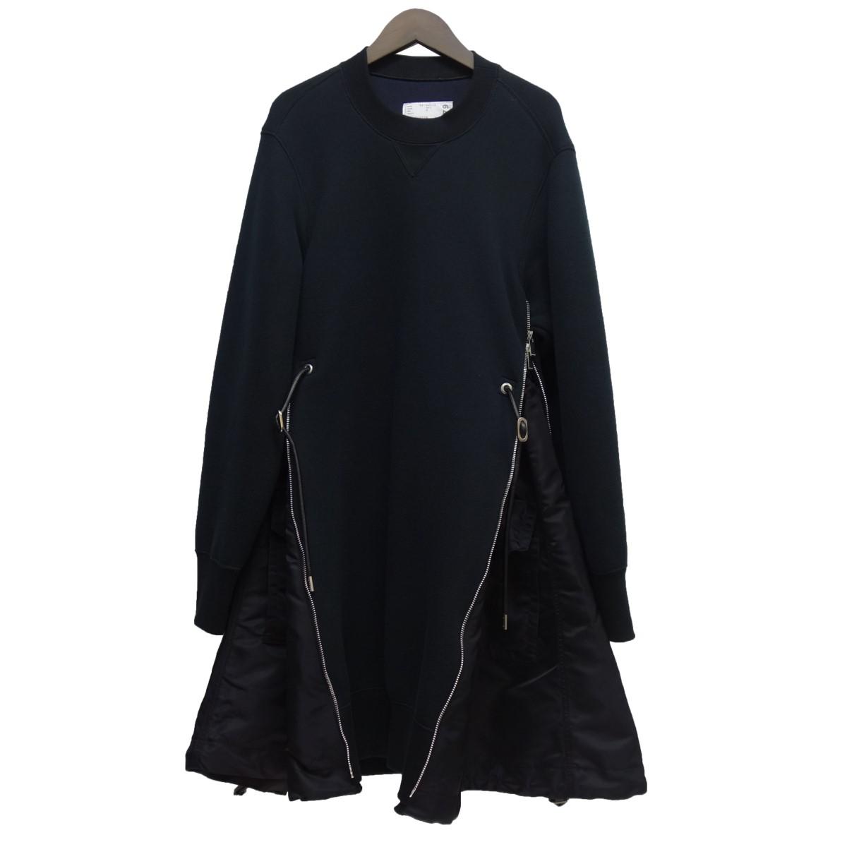 【中古】sacai サイドジップスウェットワンピース ブラック サイズ:2 【020520】(サカイ)