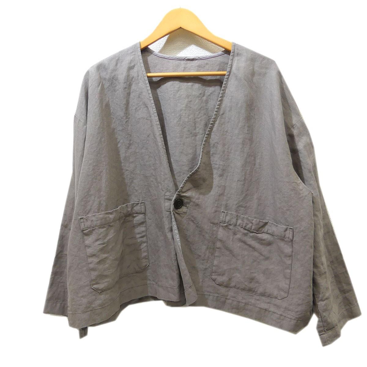 【中古】nest Robe 2019SS 高密度リネン1つボタンルーズジャケット グレー サイズ:Free 【020520】(ネストローブ)