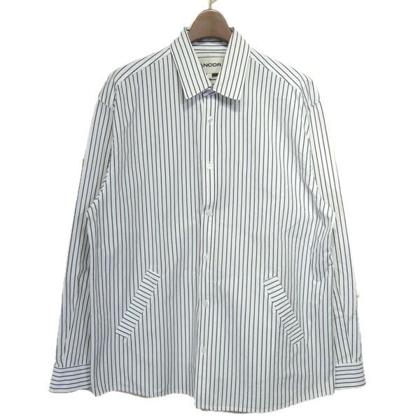 【中古】ANCOR ストライプシャツジャケット ホワイト サイズ:L 【030520】(アンカー)