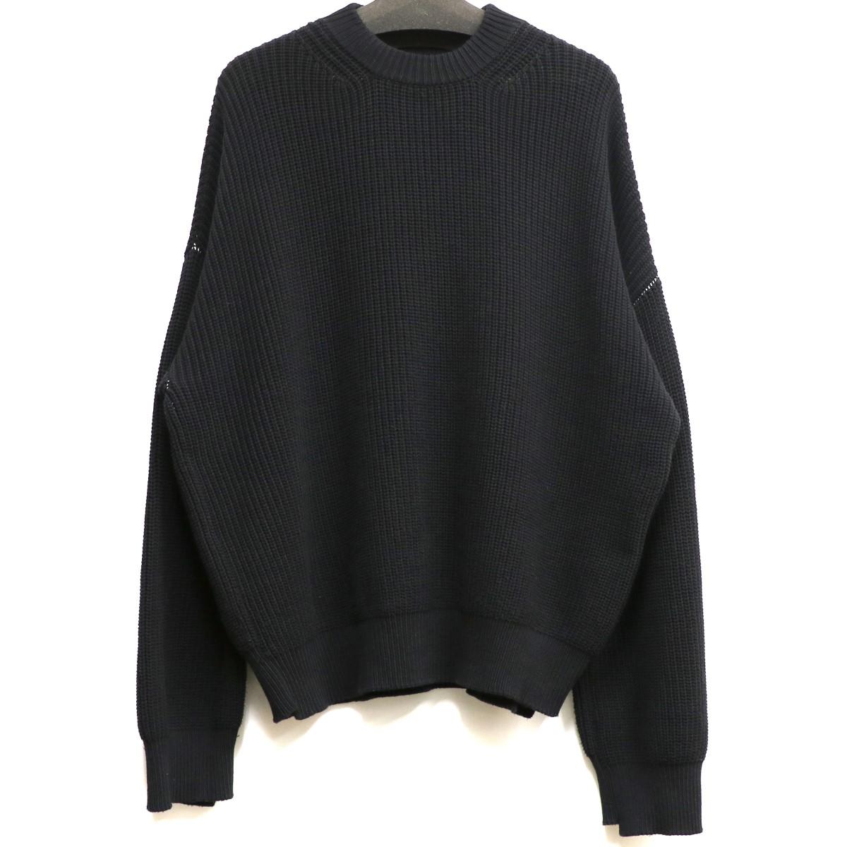 【中古】UNUSED 18SS COTTON NYLON 5G KNITローゲージコットンニットセーター ブラック サイズ:1 【020520】(アンユーズド)