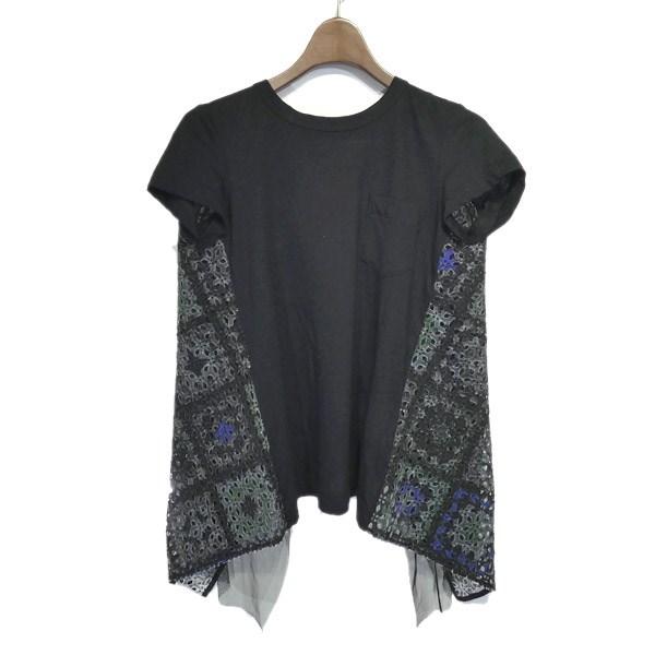 【中古】sacai バックレース切替Tシャツ ブラック サイズ:1 【030520】(サカイ)