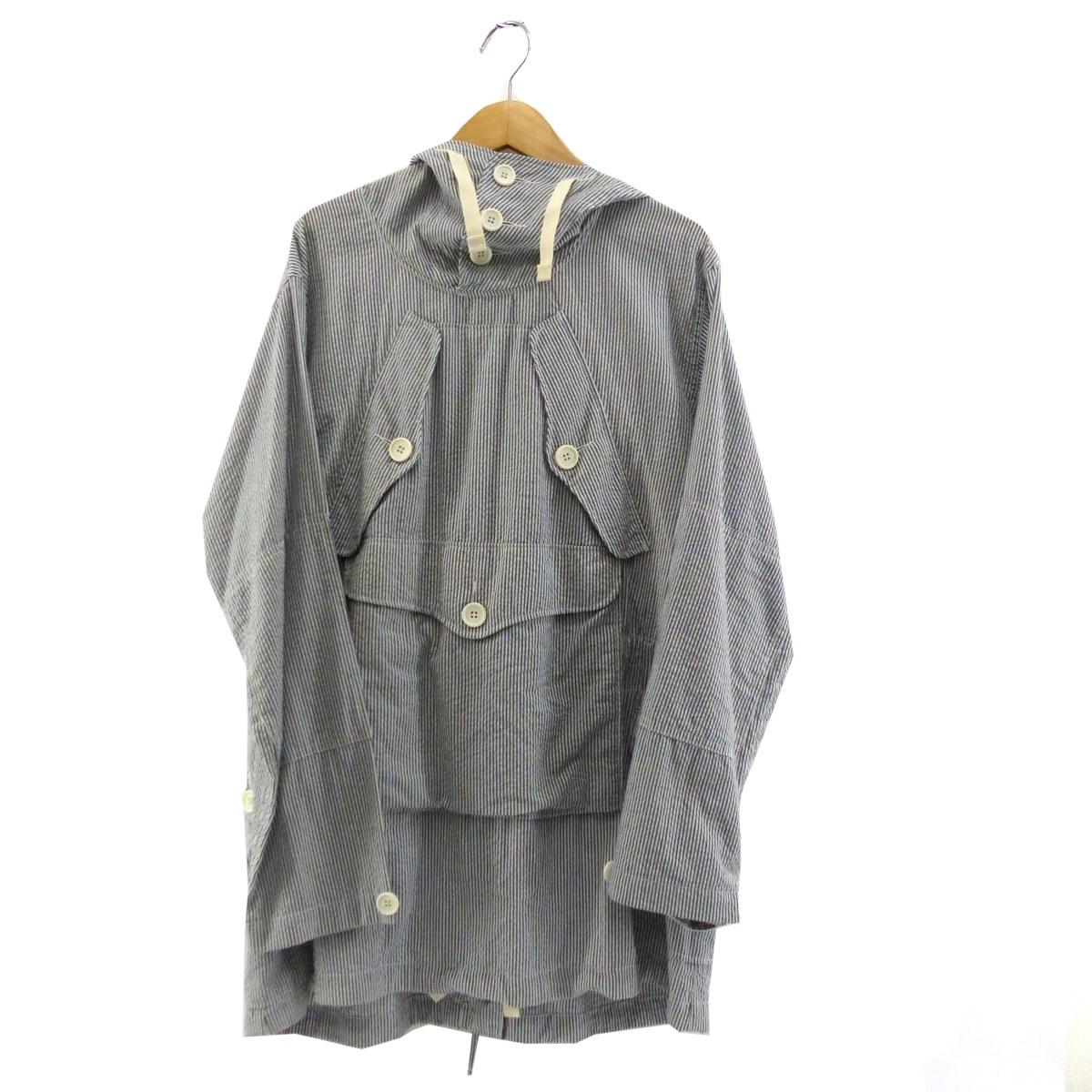 【中古】Engineered Garments シアサッカーアノラックパーカー ブルー×ホワイト サイズ:M 【030520】(エンジニアードガーメンツ)