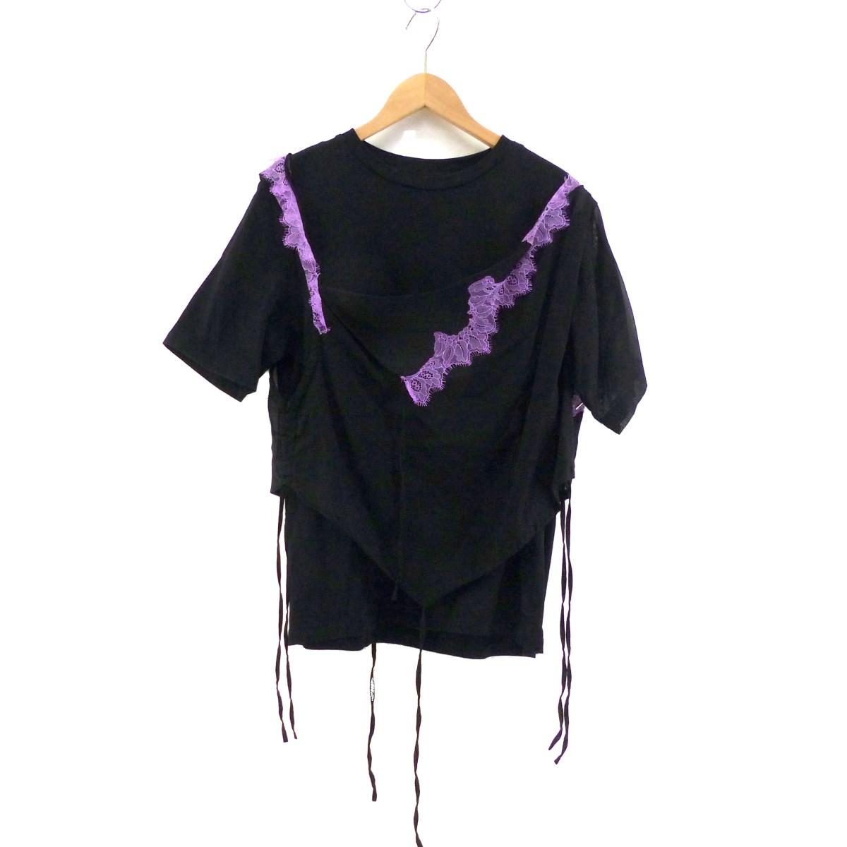 【中古】IRENE レイヤードTシャツ ブラック×パープル サイズ:36 【030520】(アイレネ)