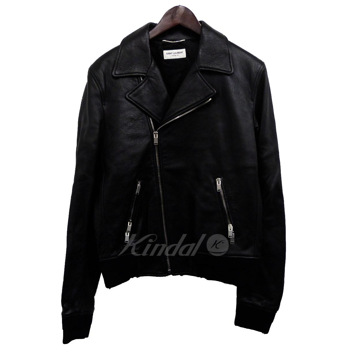 【中古】SAINT LAURENT PARIS 17SS レザーリブダブルライダースジャケット ブラック サイズ:50 【030520】(サンローランパリ)