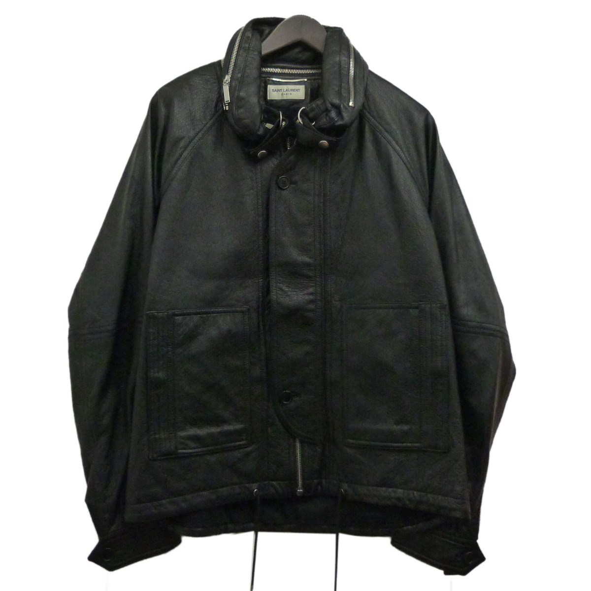 【中古】SAINT LAURENT PARIS 17AWレザージャケット ブラック サイズ:48 【030520】(サンローランパリ)