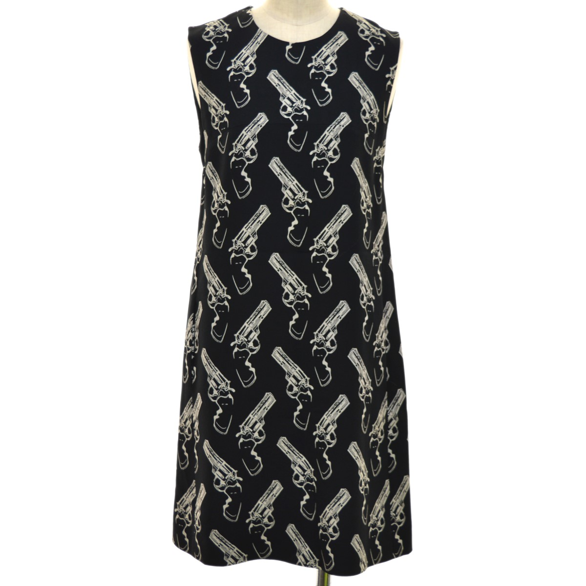 【中古】SAINT LAURENT PARIS Gun Motif sleeveless Dress ノースリーブワンピース ブラック サイズ:36 【040520】(サンローランパリ)