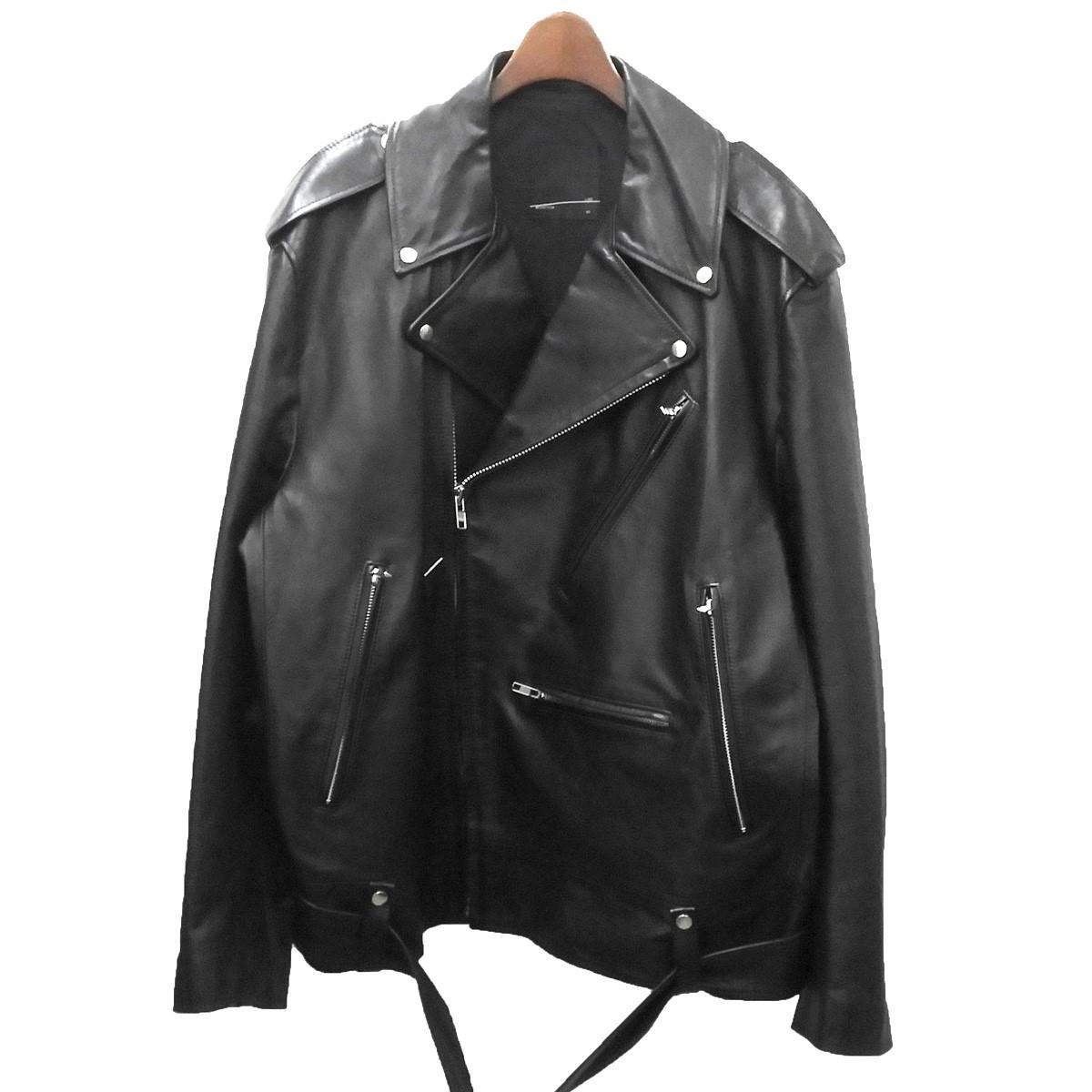【中古】LAD MUSICIAN オーバーサイズレザーダブルライダースジャケット ブラック サイズ:44 【050520】(ラッドミュージシャン)