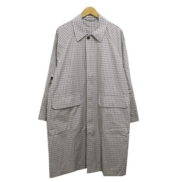 【中古】AURALEE FINX WEATHER CLOTH CHECK COAT IVORY CHECK19SS ベージュ サイズ:4 【050520】(オーラリー)