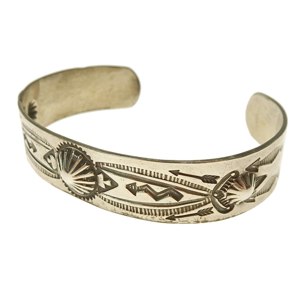 【中古】Indian jewellery スタンプワークバングル シルバー サイズ:- 【070520】(インディアンジュエリー)