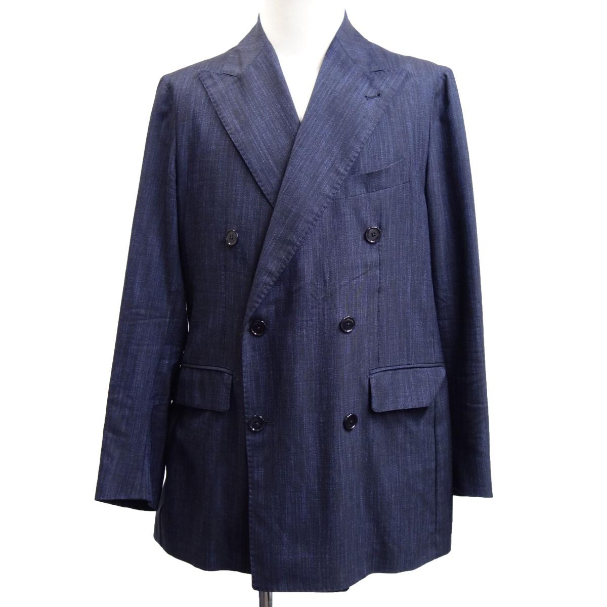【中古】TAGLIATOREダブルブレストアンコン仕立てテーラードジャケット ネイビー サイズ:44 【6月29日見直し】