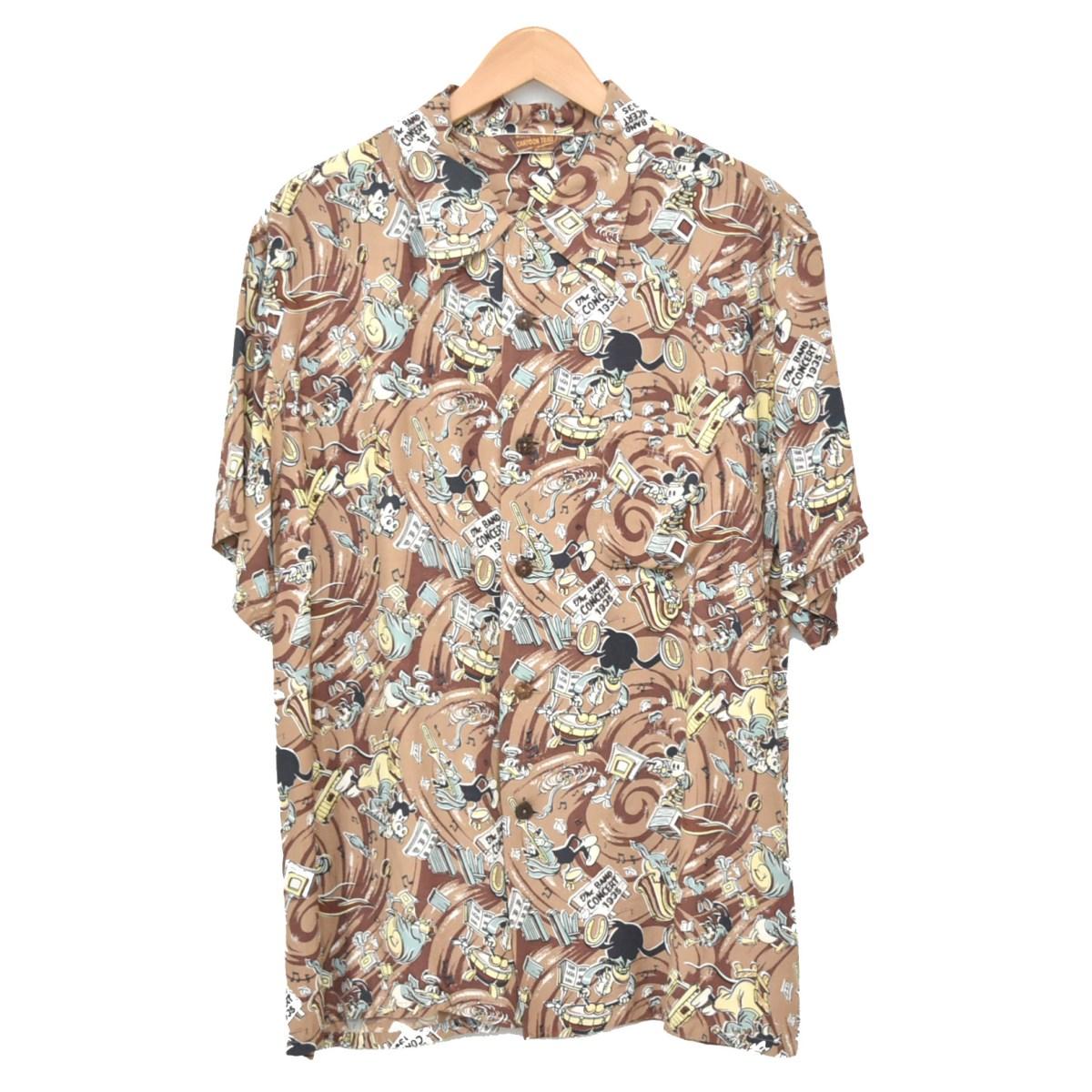 【中古】THE REAL McCOYS CARTOON TRAIL アロハシャツ ブラウン サイズ:L 【080520】(リアルマッコイズ)