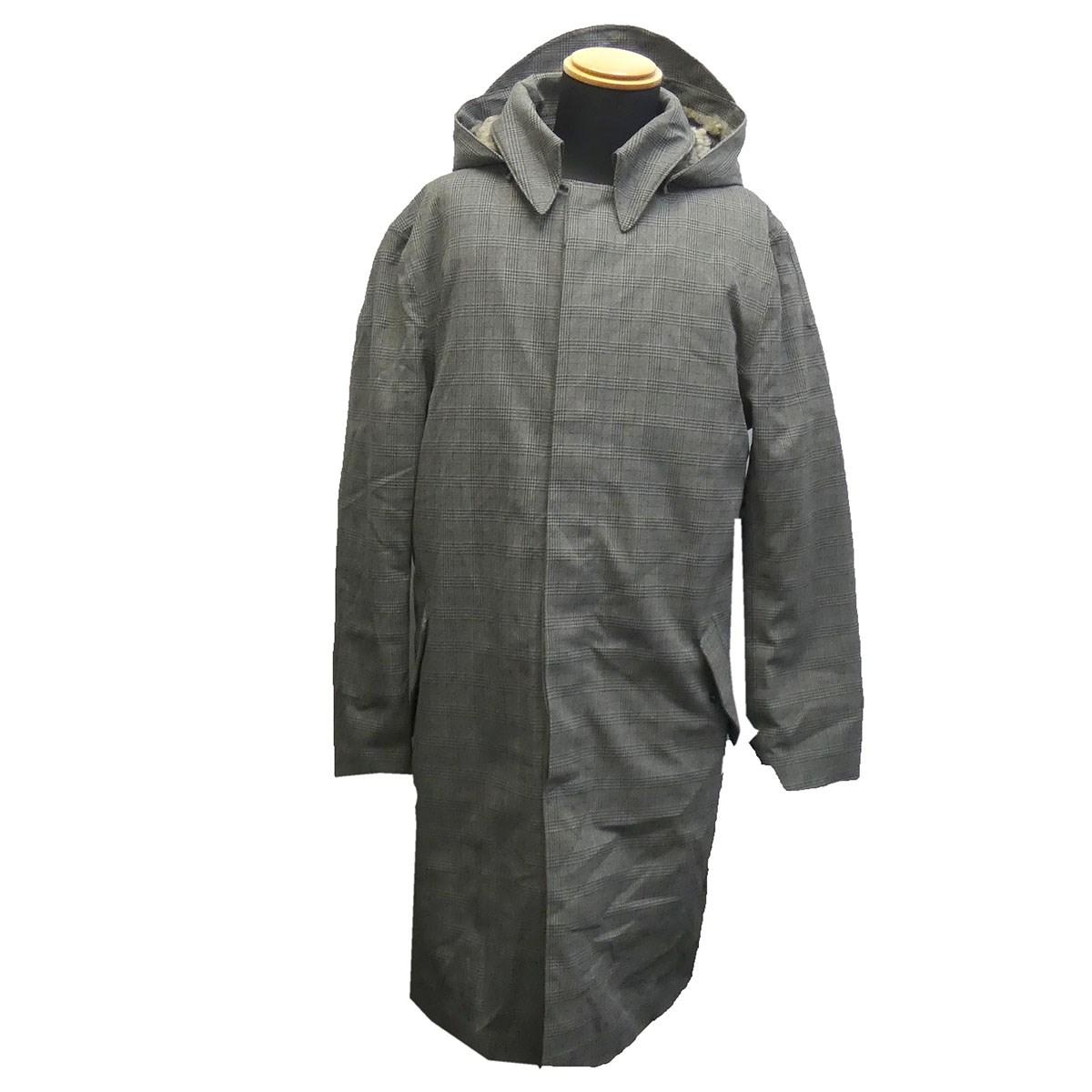 【中古】Norwegian Rain フーデットチェックコート グレー サイズ:S 【080520】(ノルウェイジャンレイン)
