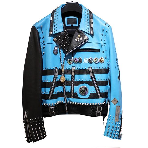 【中古】99%is ピンスタッズ カスタム ダブルライダースジャケット ブルー サイズ:3 【090520】(ナインティナインパーセントイズ)