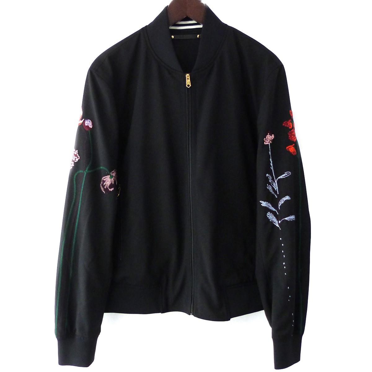 【中古】Paul Smith フローラルエンブロイダリーボンバージャケット ブラック サイズ:XL 【100520】(ポールスミス)