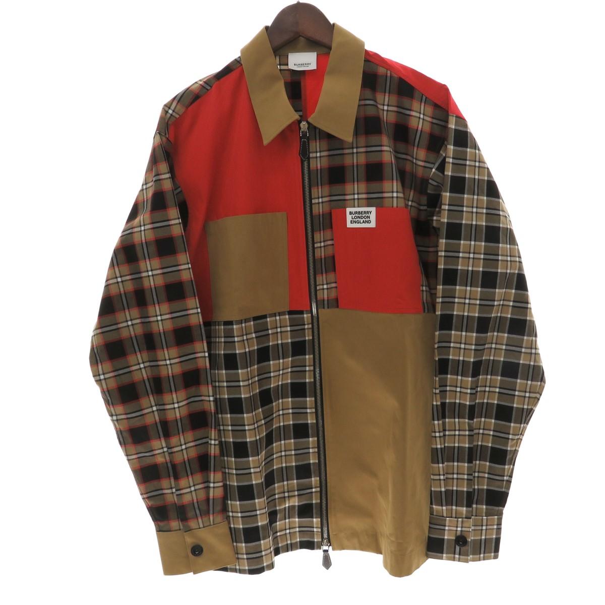 【中古】BURBERRY 20SS パッチワーク ジップアップ シャツジャケット ベージュ×レッド サイズ:S 【100520】(バーバリー)