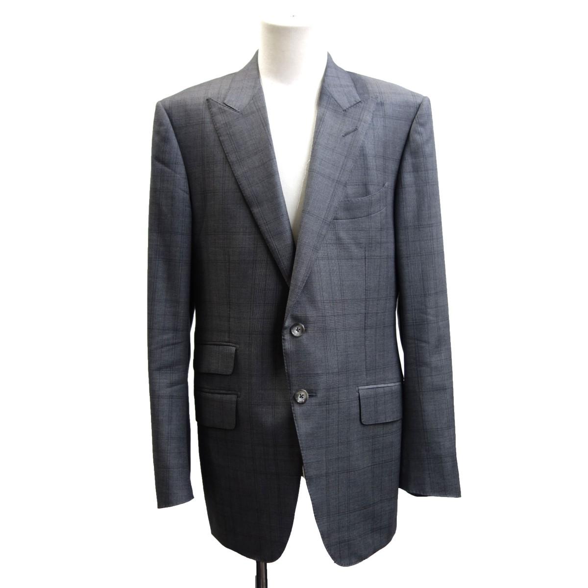【中古】TOM FORD ピークドラペルチェックテーラードジャケット グレー サイズ:50 【100520】(トムフォード)